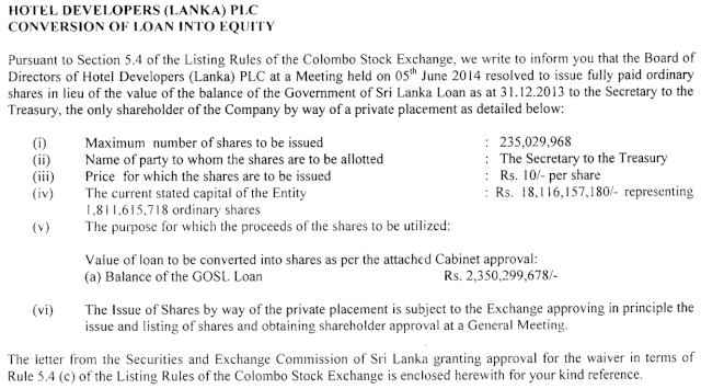 Hotel Developers (Lanka) - Conversion of Loan into Equity Hotel10