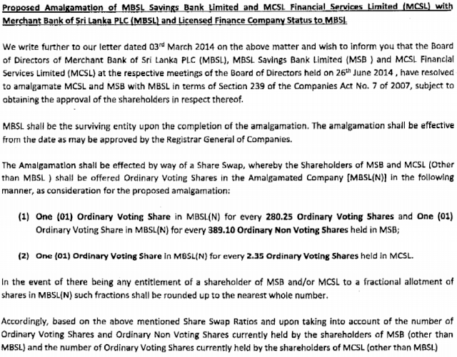 MBSL - Proposed Amalgamation Mbsl110