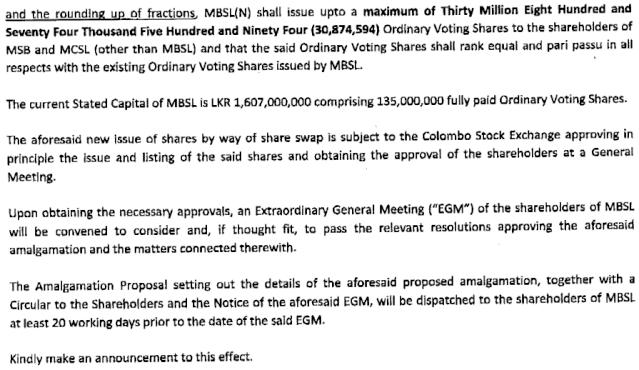 MBSL - Proposed Amalgamation Mbsl210