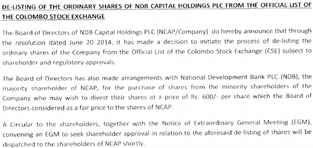 De-listing NDB Capital Holdings Ncp11