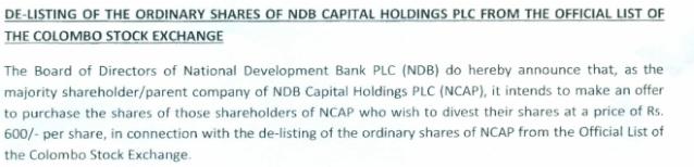 De-listing NDB Capital Holdings Ndb10