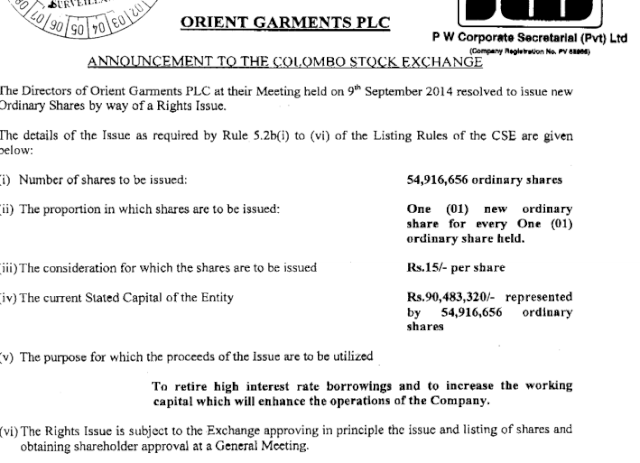 Orient Garments Rights Issue 1:1 @ Rs. 15.00 Orin10