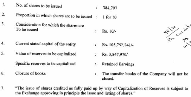 Sampson International Capitalization of Reserves 1:10 Sil10