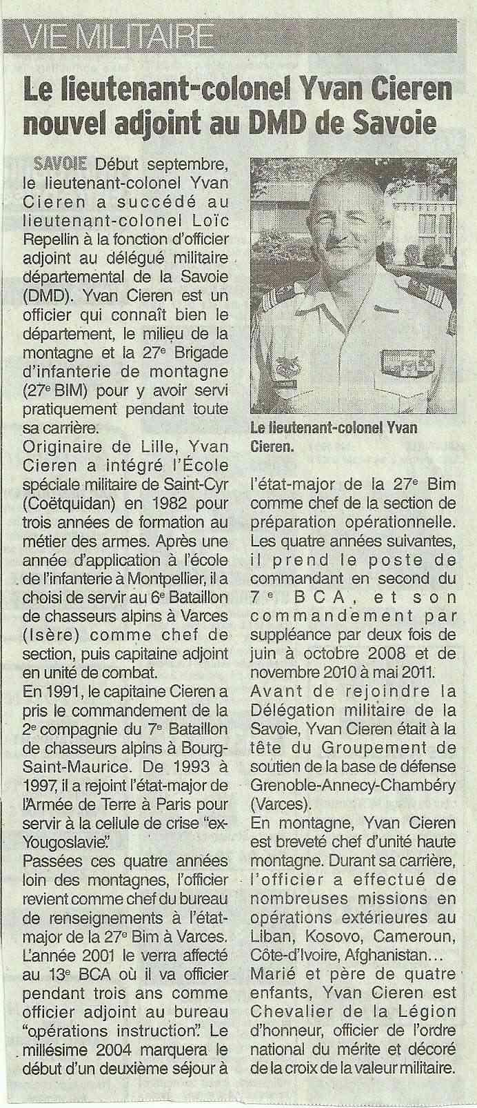 Le Lieutenant-Colonel CIRIEN, nouvel adjoint au DMD Savoie Dmd10