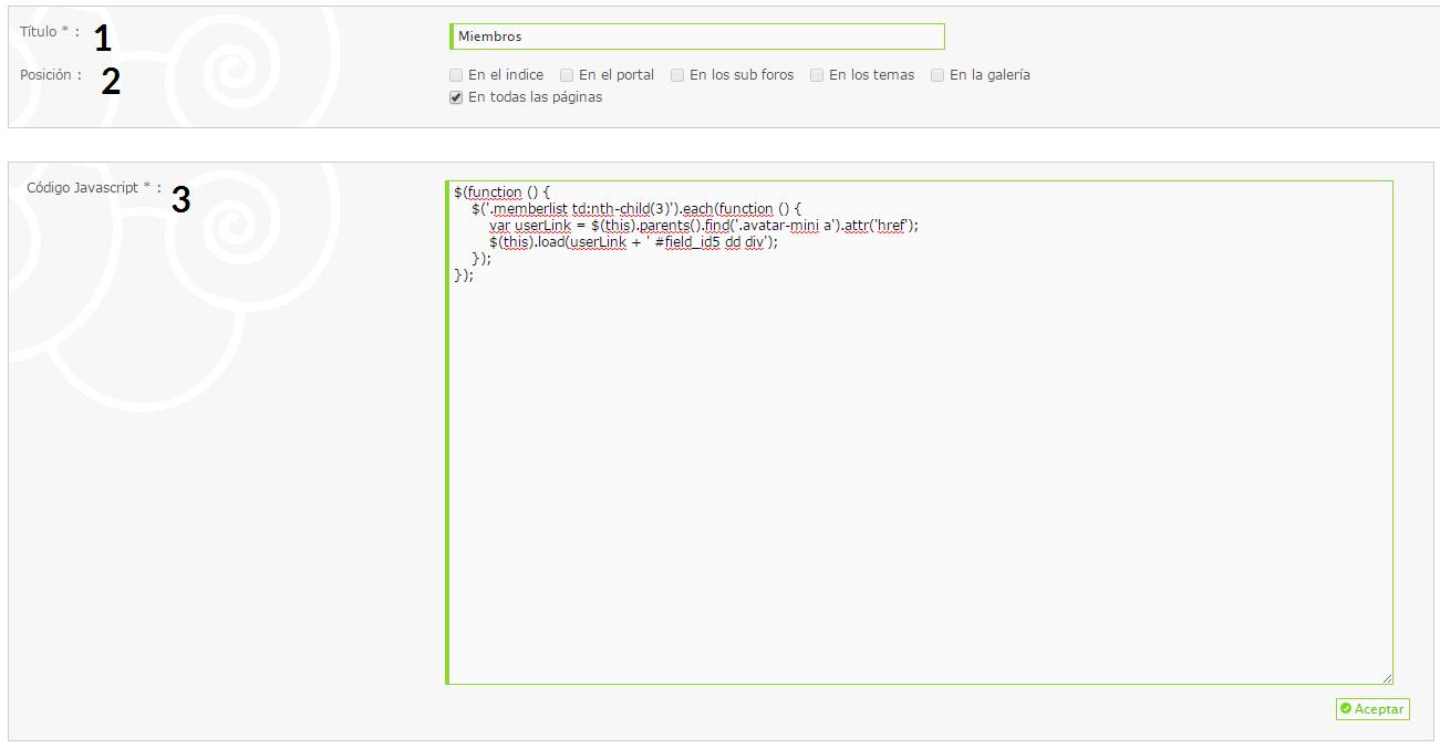 """[html] Cambiar campo """"humor"""" por """"avisos"""" en la memberlist Script11"""