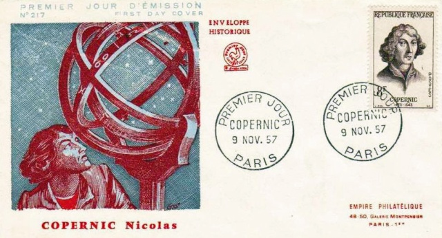 Philatélie spatiale France - 1957 - Nicolas Copernic et Isaac Newton 1957_115