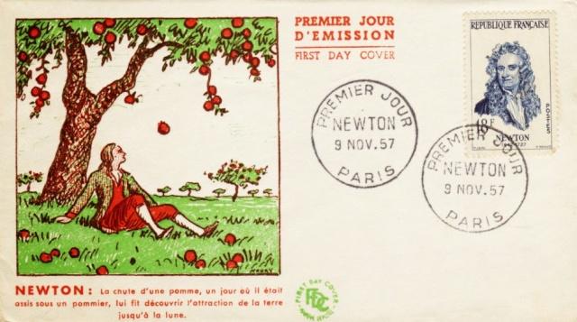 Philatélie spatiale France - 1957 - Nicolas Copernic et Isaac Newton 1957_n10
