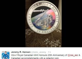 25 ème anniversaire de l'Agence Spatiale Canadienne / Émission d'une pièce de monnaie Cnada_10