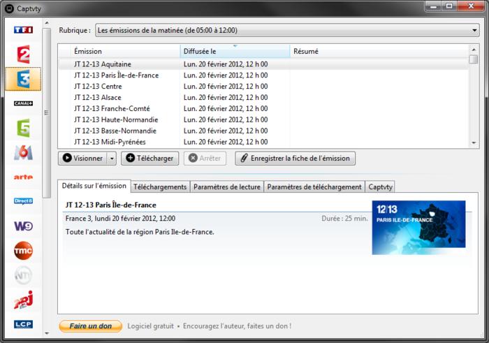 Captvty un logiciel de téléchargement du Replay gratuit sur Windows ET MAC! Captvt10
