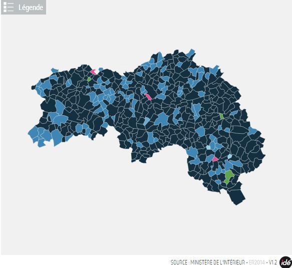 carte en couleur du resultat commune par commune Carte10
