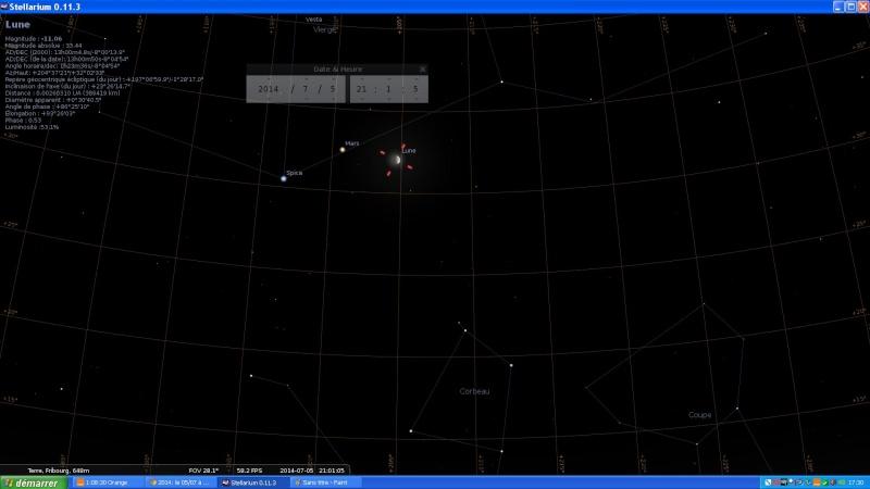 2014: le 05/07 à 21h01 - objet lumineux passant devant la lune - Fribourg, Suisse -  Fribou10