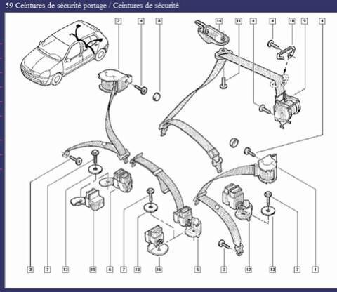 grande remise beaucoup à la mode choisir officiel Ceinture arrières Clio 2