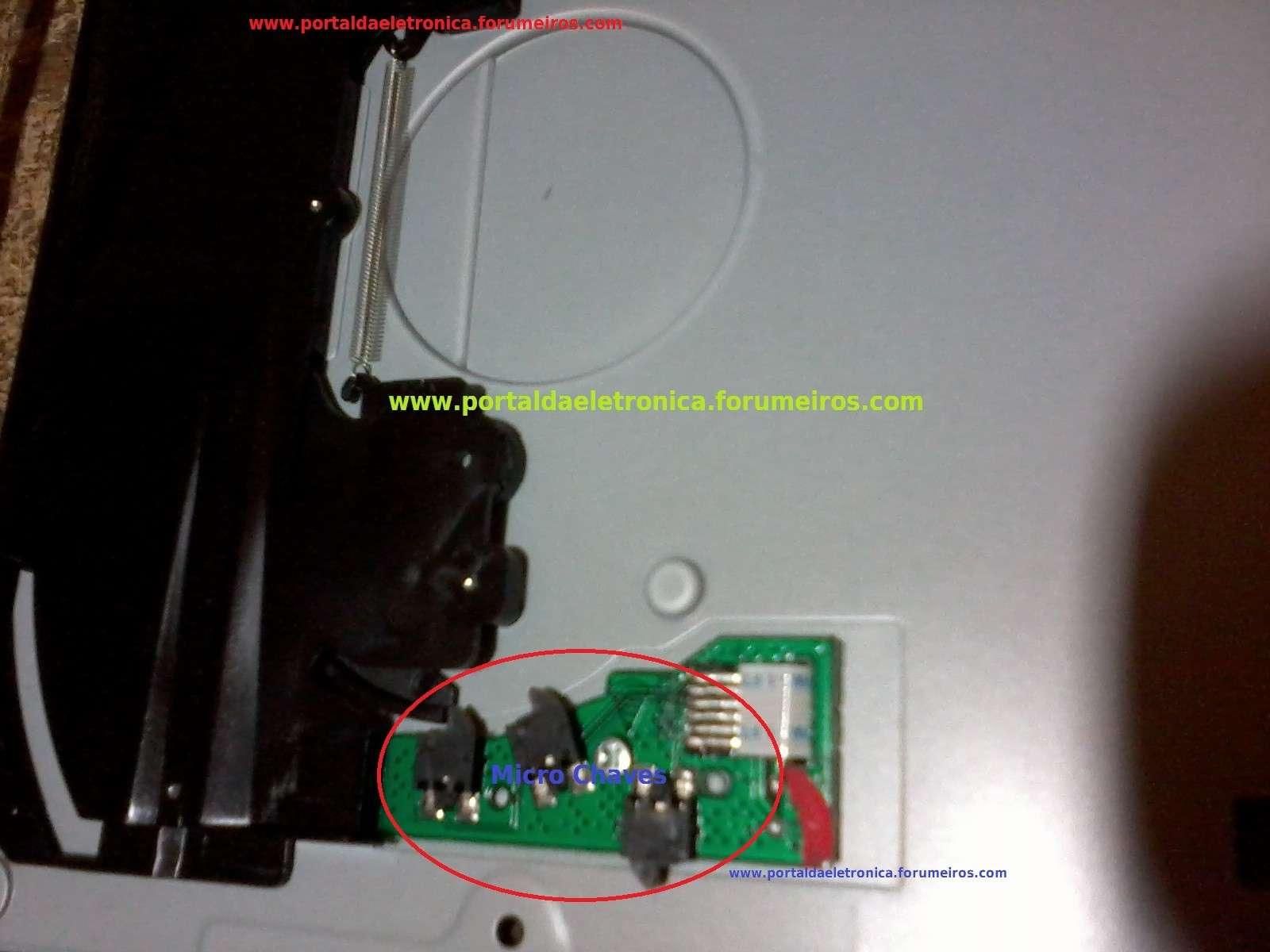 Home theater LG BH7220BW não puxa e não ejeta o CD ou DVD. Micro-10