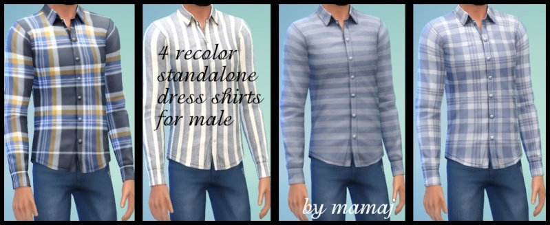 4 recolor standalone male untucked dress shirts by mamaj Drkblu10