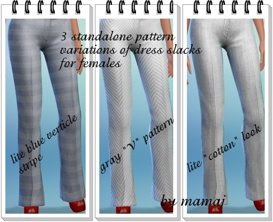 3 Standalone Pattern variations for female dress slacks by mamaj Srtipp12