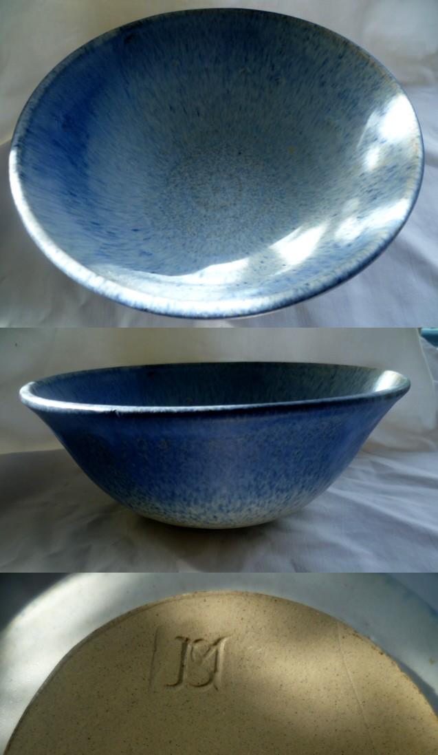 Wide rim pastel coloured bowl impressed mark J S L possibly Abowl11