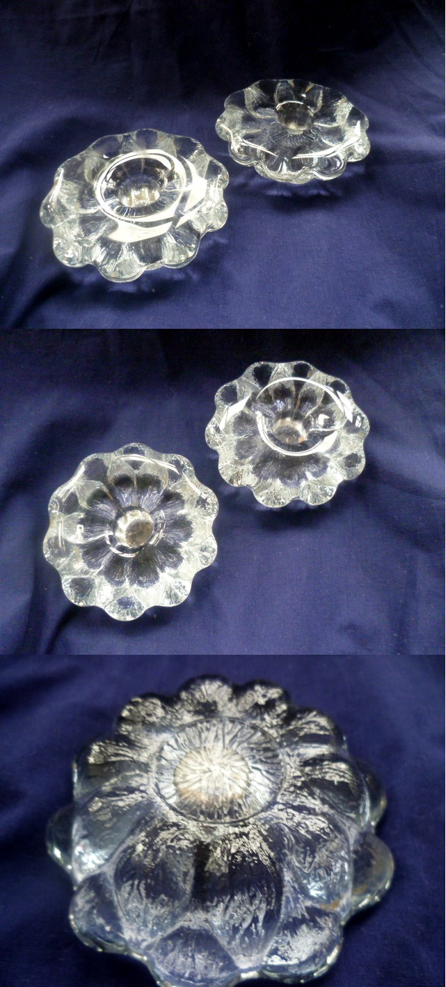 Lead crystal rounded topped candle holders, Cascade style mould base Acandl10