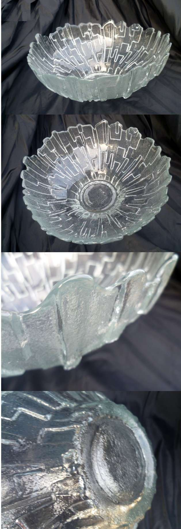Large Cut Ice Style Crystal bowl Irregular rim, akin to the Humppila style Ahump10