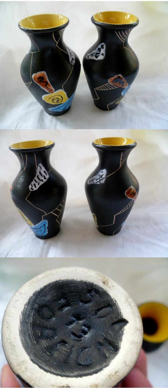 A pair of 5.25'' Min Century Black Yellow vases - Italian or Austrian ? Amini10