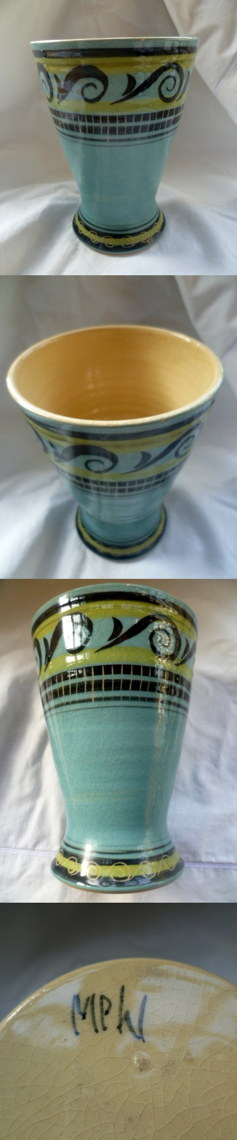 Hand painted ribbon vase - painted initials MPW Ampw10