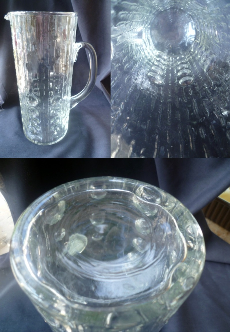 8.75'' Clear Glass Jug/Pitcher - indented knobbly finish & stretched lines Apitch10