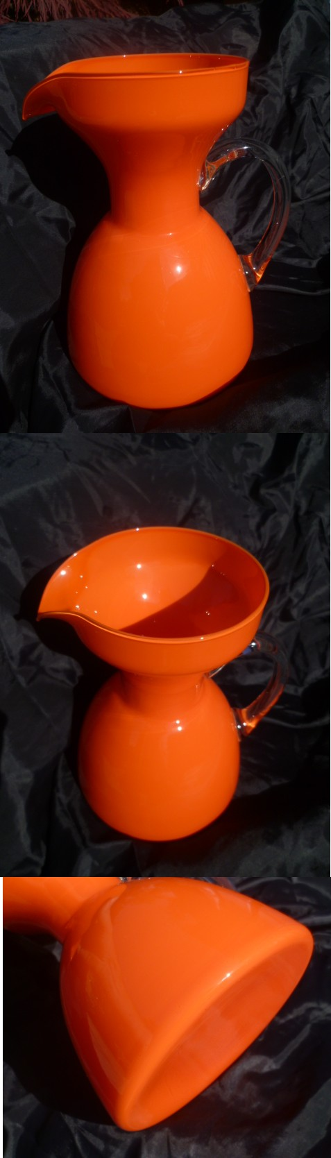 Large 8.5'' Jug Pitcher Orange with clear handle Italian or Scandinavian? Apitch11