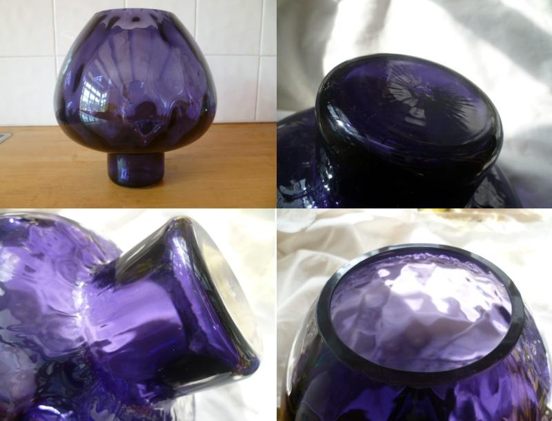 Purple Mushroom Vase with internal ripple pattern - new or old? Apurp10
