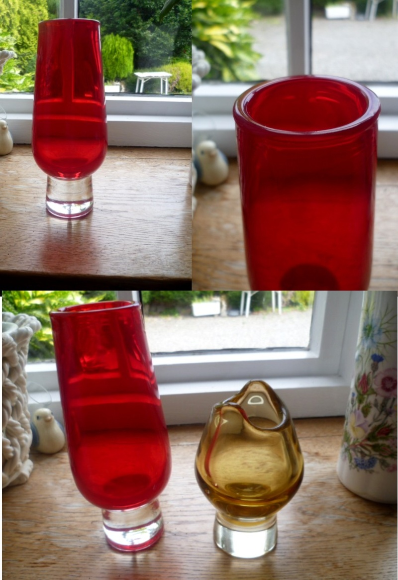 Rounded rim Red vase with clear base. I'm sure I used to know who made this Ared10