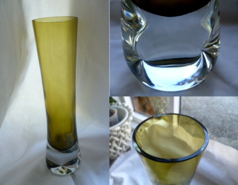 26 cm clear cased dimple base vase - Lasy Oi perhaps ? Dimple11