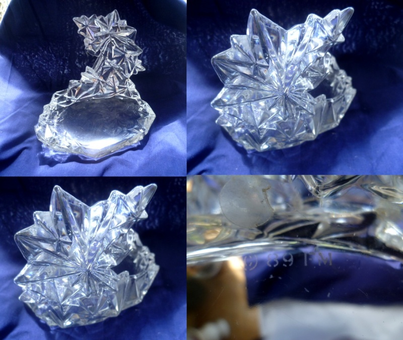 Crystal glass star design candle holder perhaps. Etched Copyright 89 FM Fm10