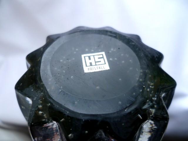 HS Kristall blown, control bubble & Clear cased undulating rim vase P1060411