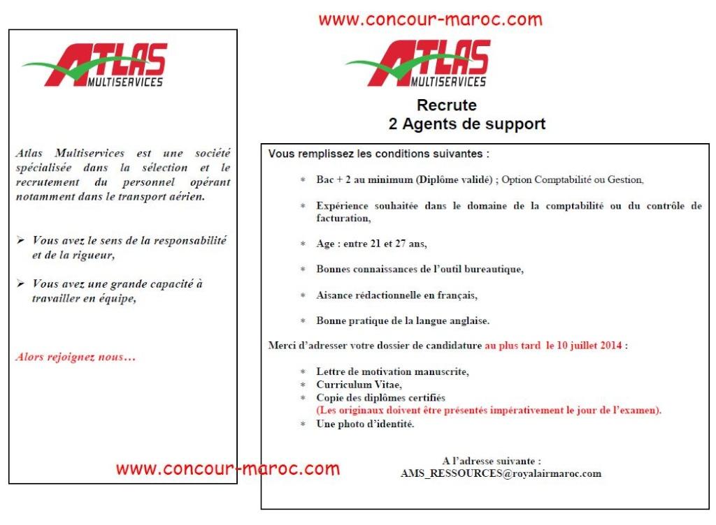 أطلس مولتي سيرفيس : مباراة لتوظيف موظف دعم (2 منصبان) آخر أجل لإيداع الترشيحات 14 يوليوز 2014 Conco100