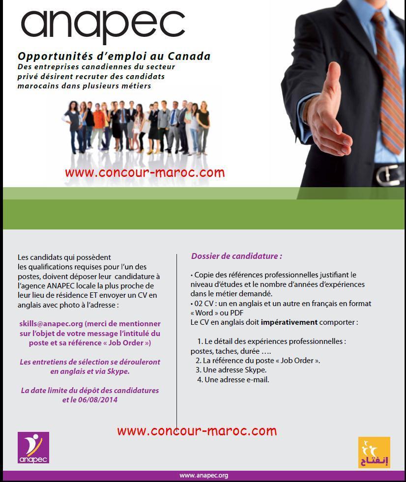 ANAPEC : Des entreprises canadiennes du secteur privé désirent recruter des candidats marocains dans plusieurs métiers avant le 06/08/2014 Conco113