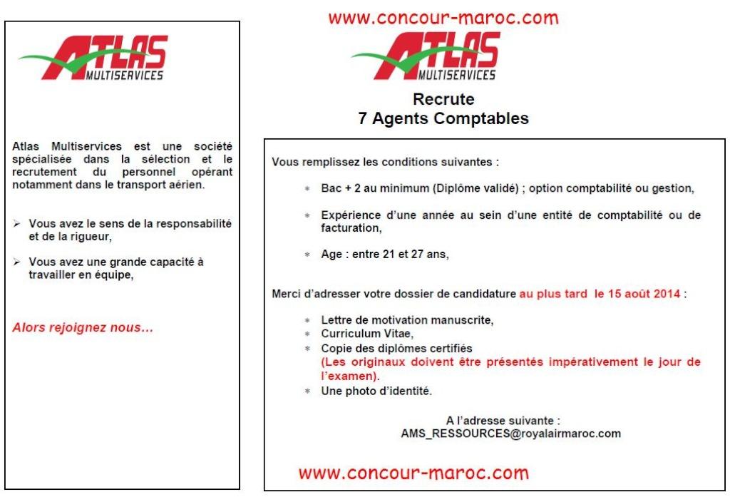 أطلس مولتي سيرفيس : مباراة لتوظيف محاسب (7 مناصب) آخر أجل لإيداع الترشيحات 15 غشت 2014 Conco114