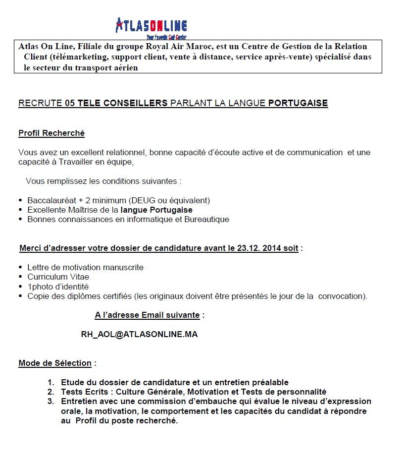 أطلس اون لاين/ الخطوط الملكية المغربية : مباراة لتوظيف مستشار أاهاتف (5 مناصب) آخر أجل لإيداع الترشيحات 23 دجنبر 2014 Conco183