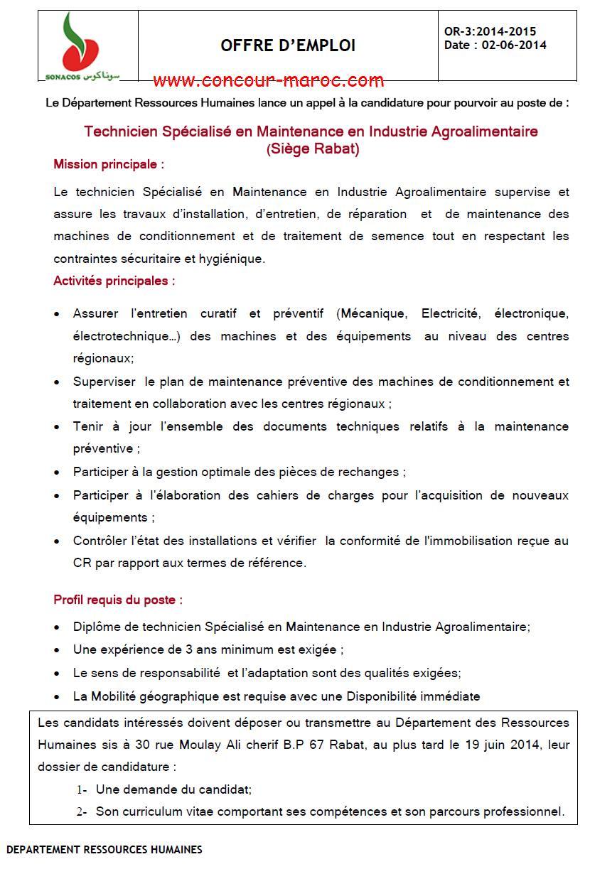 """الشركة الوطنية لتسويق البذور """"سوناكوس"""" : مباراة لتوظيف تقني متخصص في الصناعة الغذائية (1 منصب) آخر أجل لإيداع الترشيحات 19 يونيو 2014 Concou61"""