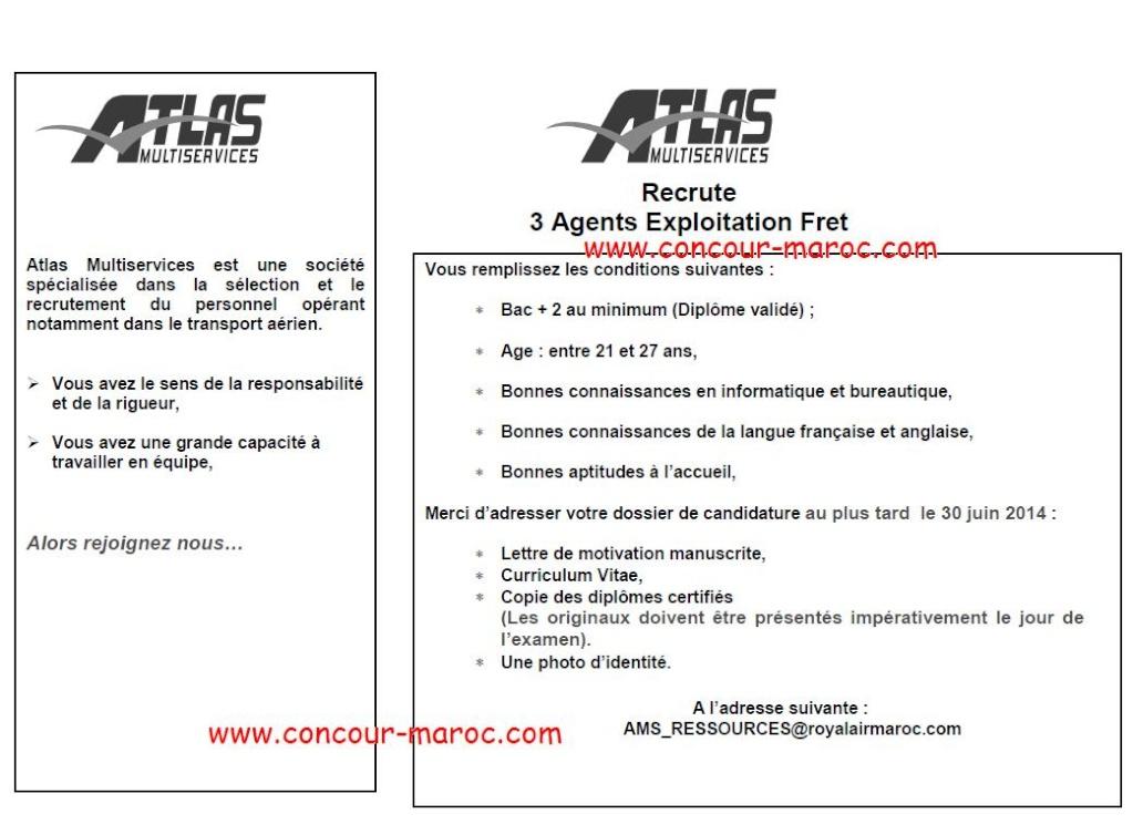 أطلس مولتي سيرفيس : مباراة لتوظيف وكيل عمليات الشحن (3 مناصب) آخر أجل لإيداع الترشيحات 30 يونيو 2014 Concou71