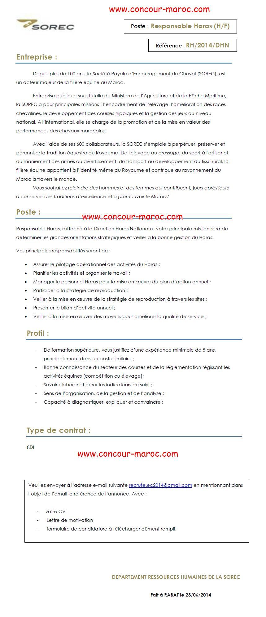 الشركة الملكية لتشجيع الفرس : مباراة لتوظيف مسؤول عن الحريسة (1 منصب) آخر أجل لإيداع الترشيحات 13 يوليوز 2014 Concou89