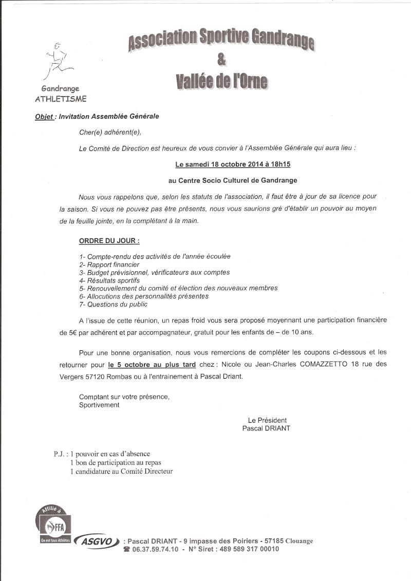 Assemblée Générale 18/10/2014 Ag201410