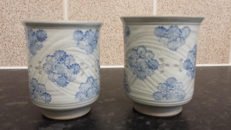 pair of yunomis - Japanese with hakame style brushwork  20140925