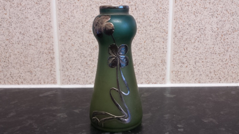 GLASS VASE WITH INLAY SILVER FLORAL DECORATION, ID HELP PLEASE? 20141024