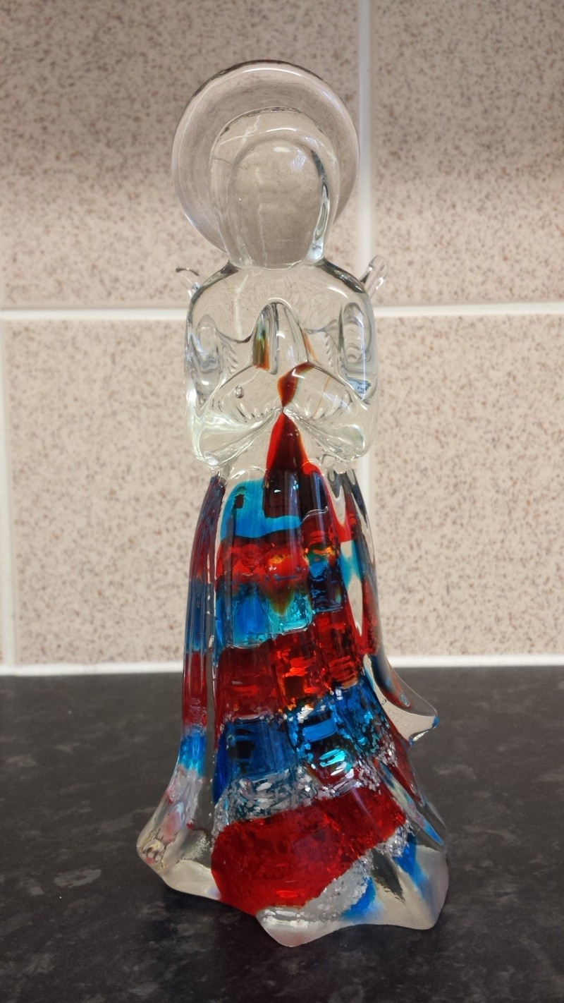 Who made this angel sculpture art glass unmarked  20141040