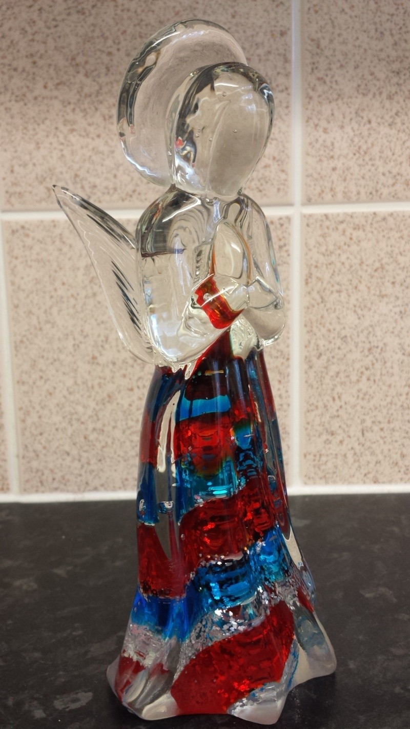 Who made this angel sculpture art glass unmarked  20141041