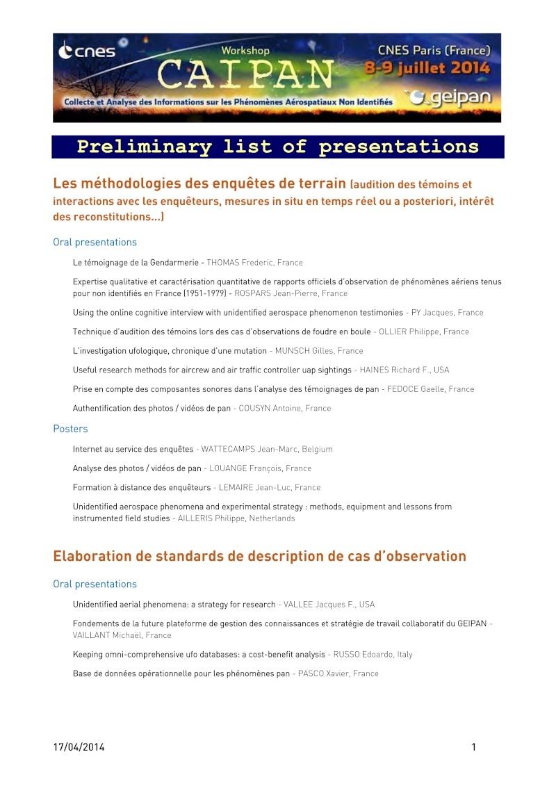 CAIPAN 2014 - Workshop du CNES/GEIPAN - Collecte et Analyse des informations sur les Phénomènes Aérospatiaux Non-Identifiés - Page 10 Caipan10