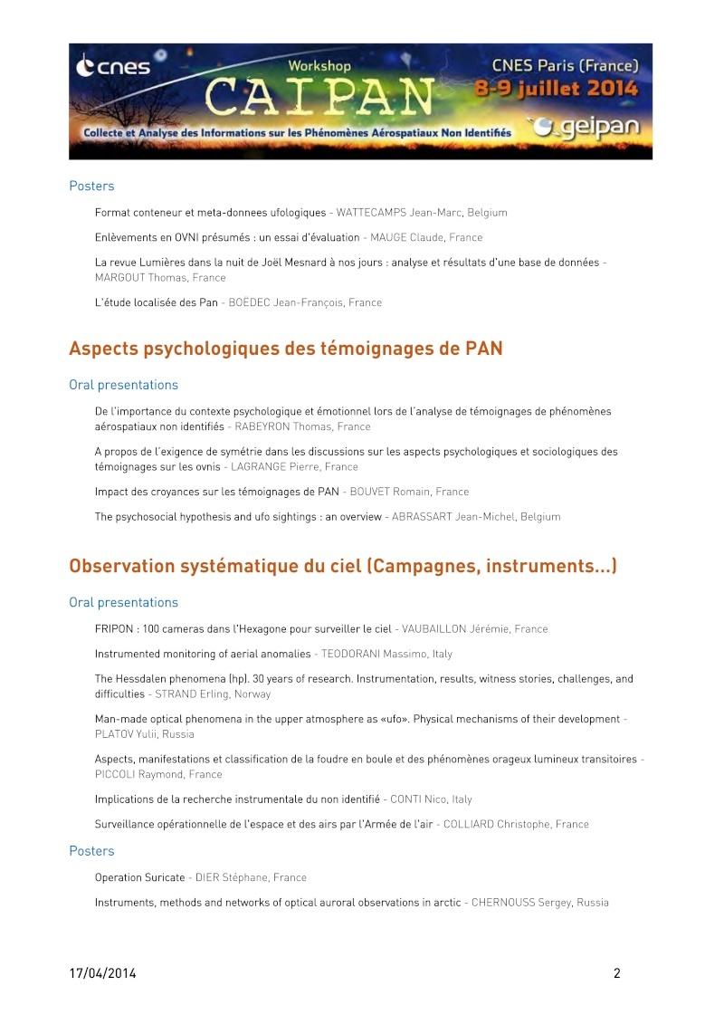 CAIPAN 2014 - Workshop du CNES/GEIPAN - Collecte et Analyse des informations sur les Phénomènes Aérospatiaux Non-Identifiés - Page 10 Caipan11
