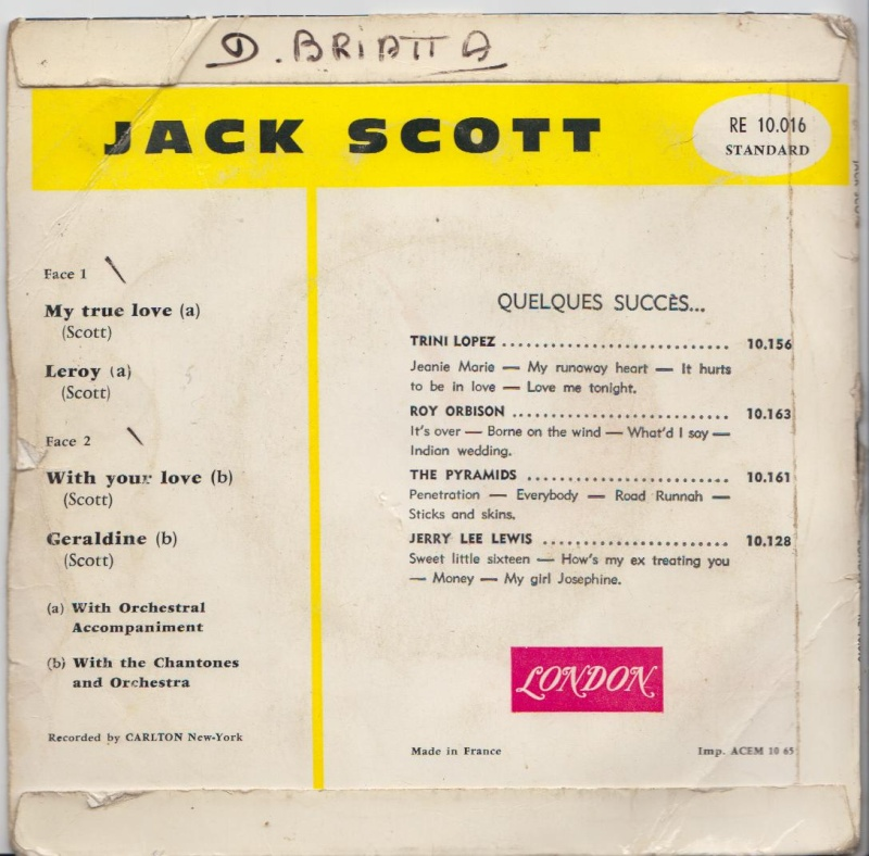 Jack Scott - My True love /Leroy / With your love /Geraldine - EP London - Carlton Jacksc11