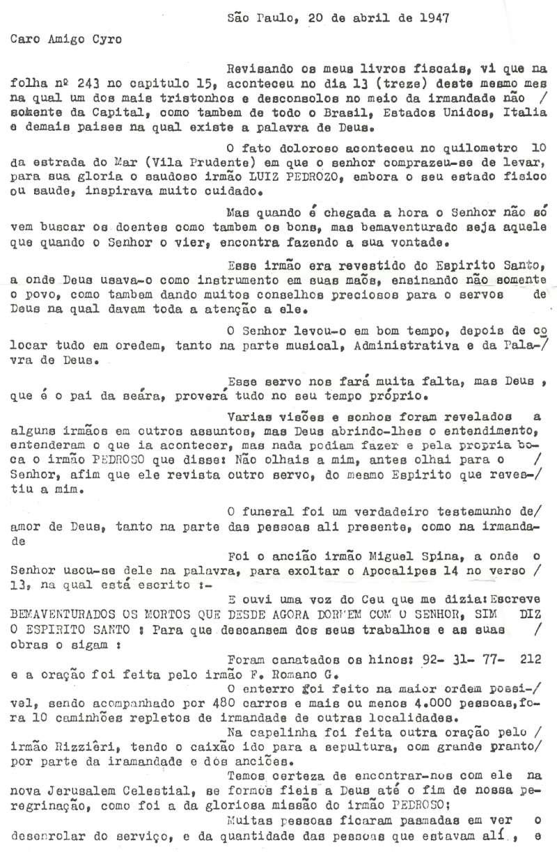 Carta sobre o funeral do ancião Luiz Pedroso, 1º ancião presidenciável do Brasil Carta_10