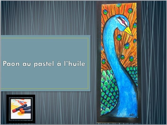 PAON AU PASTEL À L'HUILE  Paon_110