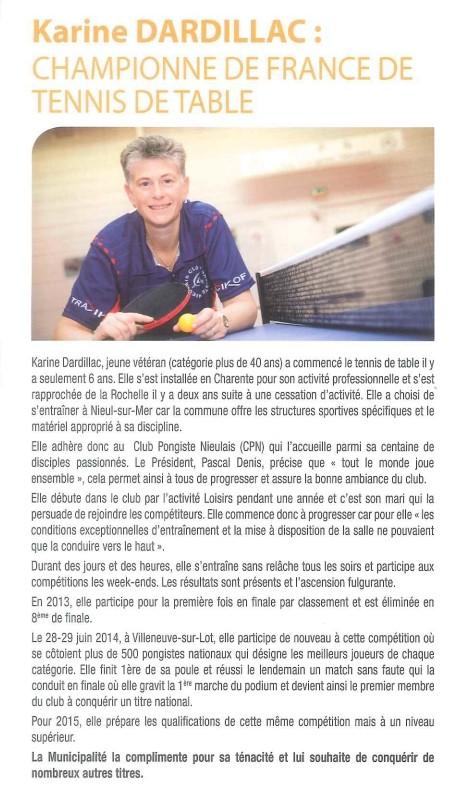 article de presse dans la revue de Nieul sur mer sur le titre de Karine DARDILLAC Karine12