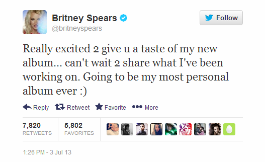 Britney tweets Album 8 is going to be her most personal album ever. Lights10